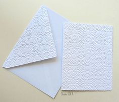 Moroccan Fresco Embossed Cards - Set of 4 white A2 embossed cards or Choose Your Colors by StudioIdea on Etsy