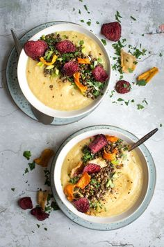 A delicious, sweet parsnip and apple soup, loaded with lentils and roasted vegetable crisps   vegan soup   vegan recipes