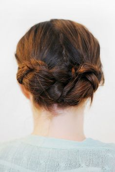 This braided updo is deceptively easy.   21 Ridiculously Easy Hairstyles You Can Do With Spin Pins