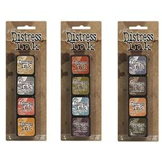 #diy Bundle contains 3 kits featuring 4 felt pads each of the colors shown.  Mini #Distress Ink Pads feature a raised felt pad making it easy to use on #smaller c...