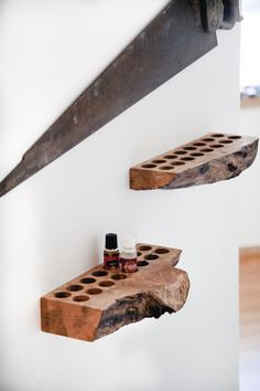 Essential Oil Storage || Essential Oil Organizer, Aromatherapy Storage, Office Accessories, EO Display, Essential Oil Shelf, Desk Decor.  Made from reclaimed live edge spalted maple and sealed with Rubio Monocoat which is a hard wax oil to protect it from water, oil and wear and tear.  Perfect fit for doTerra essential oils & Young Living essential oils.