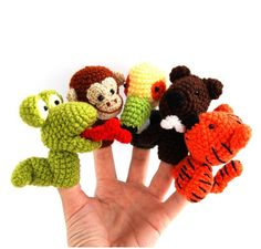 5 animal finger puppet, crocheted snake, tiger, castor, monkey, tukan, amigurumi jungel toy, play fairy tail, orange green brown