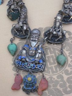 Chinese Qing Silver Enamel Needle Case Necklace - detail