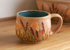 Handmade Stoneware Mug, California Wildflowers Teacup in Teal, Turquoise, Giselle No. 5 Ceramics