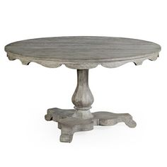 Overbury Round Dining Table, Gray - Center Tables - Consoles & Center Tables - Entry - Furniture One Kings Lane Dinner Tables Furniture, Entry Furniture, Fine Furniture, Empire Furniture, Hooker Furniture, Furniture Ideas, Pedestal Dining Table, Solid Wood Dining Table, Round Dining Table