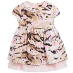 Baby girls, cute pink short-sleeved dress by Roberto Cavalli. Made from soft cotton jersey with daisies and tiger print fabric, it has a Peter Pan collar and cupped, elasticated sleeves. The skirt is softly gathered and has a tulle underskirt that gives it a full and a flared look. The dress has a pale pink smooth cotton lining with a Broderie Anglaise embroidered on the hem.<br /> <ul> <li>Dress: 90% cotton, 10% elastane (cotton jersey feel)</li> <li>Lining: 90% cotton, 10% elastane (s...