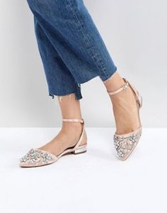 Buy ASOS LOPEZ Embellished Ballet Flats at ASOS. With free delivery and return options (Ts&Cs apply), online shopping has never been so easy. Get the latest trends with ASOS now. Diy Wedding Shoes, Bridal Shoes, Wedding Ring, Bridal Footwear, Wedding Ideas, Ballerinas, Metallic Flats, Beige Flats, Clearance Shoes