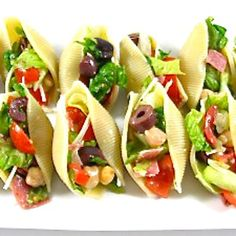Italian Chopped Salad Stuffed Shells Appetizer. Pasta tacos