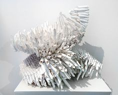 Lee Bethel  Ruff 2015  hand-cut and rolled paper on wire 45 x 50 x 40cm