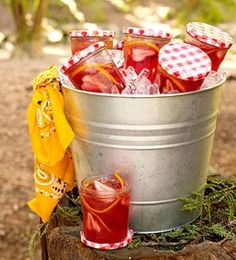 Time for a birthday party plan.   Jam jar juices for picnic party