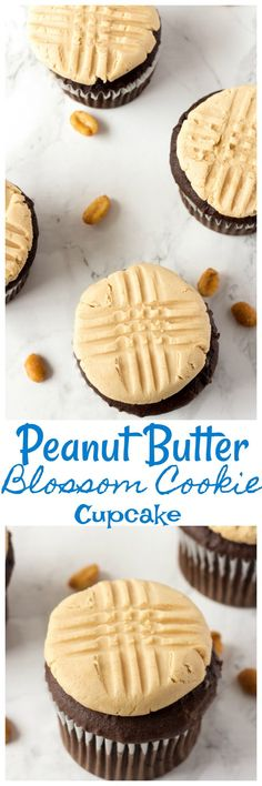This Peanut Butter Blossom Cupcake is made with homemade chocolate ganache. peanut butter cookie buttercream frosting and home made chocolate cupcakes.