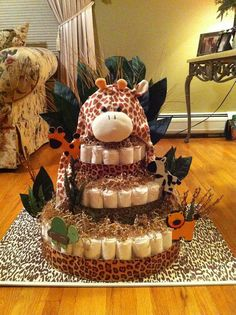 Neutral Safari Theme Diaper Cake