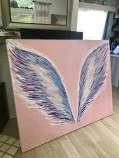 Original Fantasy Painting by Talia Perez Acrilic Paintings, Cute Canvas Paintings, Art Deco Paintings, Small Canvas Art, Easy Canvas Painting, Diy Canvas Art, Fantasy Paintings, Mural Painting, Angel Wings Drawing