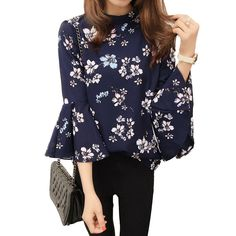 New Casual Blouse Floral Chiffon Blouse Women o-neck Flare Sleeve Tops Shirt three quarter Blouse Shirt Casual Blusas Female