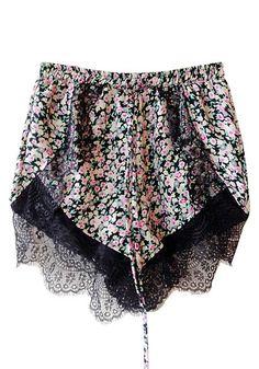 Lace hem wrap shorts
