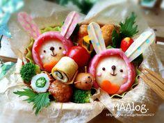 Raincoat bunnies bento