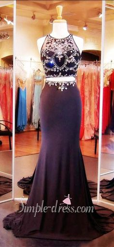 Honorable Prom Dress/Evening Dress - Black Mermaid Two Piece with Rhinestone