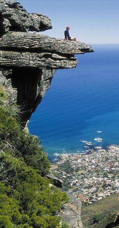 On a ledge on Table Mountain.