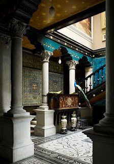 Leighton House in London. Known for its Arabic inspired hall, which is used as a scene in several music videos. But I liked this hallway better. That peacock and those tiles...