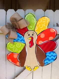 Thanksgiving Turkey Wooden Door Hanger Burlap Bow by Earthlizard, $40.00