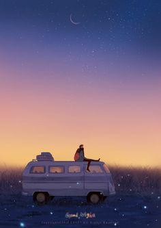 Anime Gifs, Anime Art, Aesthetic Art, Aesthetic Anime, Love Illustration, Volkswagen Bus, Anime Scenery, Art Graphique, Couple Art