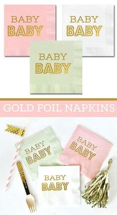 Baby Shower Napkins - Baby Napkins - Pink and Gold Baby Shower - Mint and Gold Baby Shower - Paper Napkins (EB3099BB) - set of 25 napkins by ModParty on Etsy https://www.etsy.com/listing/233332404/baby-shower-napkins-baby-napkins-pink