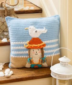 By the Sea Pillow Free Crochet Pillow from Red Heart Yarns