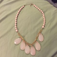 Light pink necklace with gold chain Light pink necklace with beaded details... In excellent condition! Jewelry Necklaces