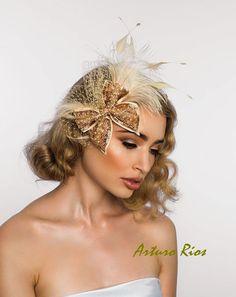 Champagne Gold Bridal headpiece Bridal  by ArturoRiosBridal, $165.00