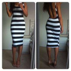 Black & White Open Back Dress