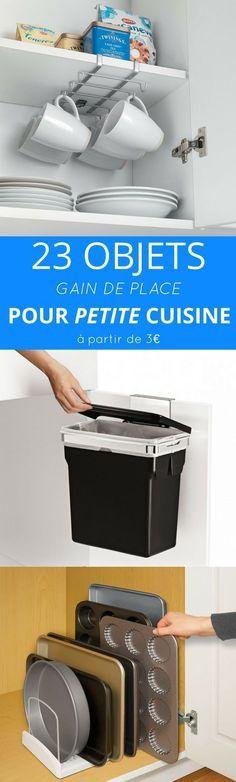 """PETITE CUISINE ? Les solutions existent... Voici une liste de 23 objets malins et """"gain de place"""" pour optimiser l'espace et le rangement dans votre petite cuisine."""
