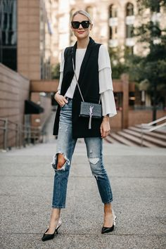 cbcfc243415 Spring Autumn Black Sleeveless Vest Duster Blazer Jacket White T shirt  Destroyed Ripped Denim Jean Skinny Pants