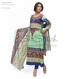 Price: $12 - ST-8868B multi front shirt collection by Shariq Textile features long shirt style along with 3-quarter sleeves and round neck with pink and blue color exclusive print.