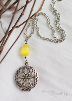 Lemon Yellow Essential Oil Diffuser Necklace for Aromatherapy by SimplyMoments4