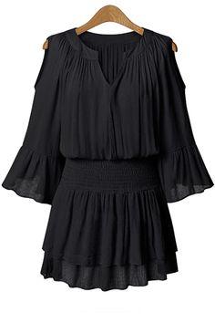Flare Sleeve Layered Plus Size Chiffon Dress BLACK: Chiffon Dresses   ZAFUL