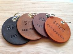 Leather Dog ID Tags on Etsy, $20.00
