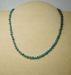 Teal Blue Beaded Choker Necklace Silver Seed by LandofBridget