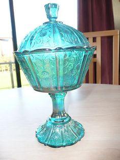 Bon Bon Dish & Lid - Fenton Carnival Glassware in Peacock Blue Glass-1910?Stunning £25