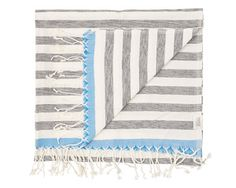 MAYDE TORQUAY TOWEL - CHARCOAL / MARINE 80% Cotton / 20% Bamboo Black stripes on white ground with coloured edges