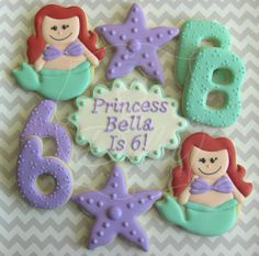 One Dozen (12) Ariel / Little Mermaid Inspired Decorated Sugar Cookies