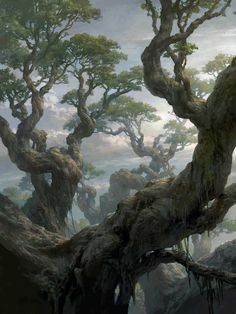 Magic the Gathering: Basic Lands, Tianhua Xu - Fantasy Concept Art Landscape, Fantasy Art Landscapes, Fantasy Landscape, Landscape Art, Fantasy Artwork, Fantasy Concept Art, Environment Concept Art, Environment Design, Fantasy Places
