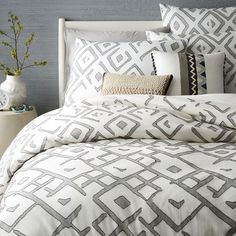 Fair Trade Organic Fading Diamond Jacquard Duvet Cover + Shams
