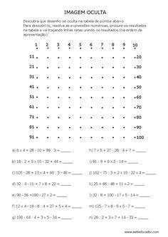Imagem oculta - expressões numéricas simples