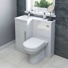 Style it your way with MySpace furniture Myspace white left handed unit with Arte back to wall toilet Tiny Bathrooms, Tiny House Bathroom, Bathroom Toilets, Modern Bathroom, Bathroom Vanities, Very Small Bathroom, Luxury Bathrooms, Bathroom Cabinets, Bathroom Layout