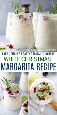 Easy White Christmas Margarita Pitcher A White Christmas Margarita Pitcher Recipe that will not disappoint. This creamy coconut margarita with lime juice, tequila, coconut water and cranberries tastes like summer and looks like Christmas in a cup. Coconut Margarita, Margarita Recipes, Margarita Party, Blackberry Margarita, Cranberry Margarita, Jalapeno Margarita, Vodka Martini, White Christmas, Alcoholic Drink Recipes