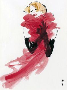 Emotion – Elegant woman with a foulard, Dior 1985 – René Gruau official website