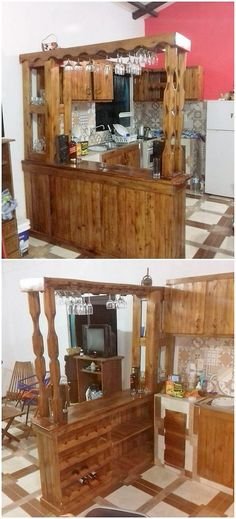 Bringing out with some more superb wood pallet reusing ideas, here we would add up with the idea of using the wood pallet in the bar designing variation. This pallet counter bar design is often carried out with the adjustment of the wine glass hanging idea that look so much top classy.