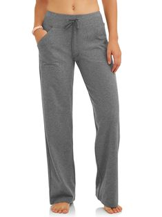 Athletic Works Women's Relaxed Fit Dri-More Core Cotton Blend Yoga Pants Available in Regular and Petite Clown Pants, Comfy Pants, Comfy Clothes, Pants For Women, Clothes For Women, Weird Fashion, Wide Pants, Scrub Pants, Work Attire