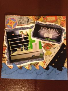 """Titanic exhibit at Franklin Institute, Page 1... This is a 8x8 scrapbook page featuring waves a sunken ship from """"Life is a Beach"""" cartridge."""