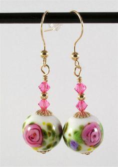 Lampwork Earrings Pink Rose Gold Lampwork Beads - SRAJD. $30.00, via Etsy.